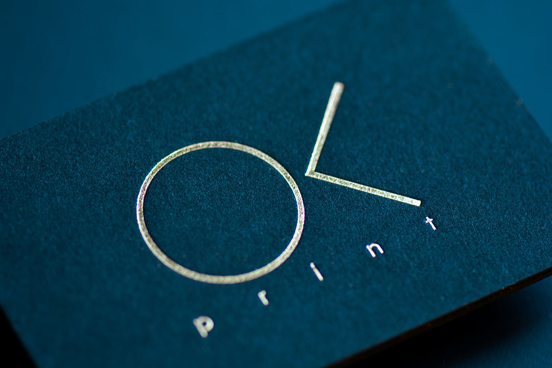 Golden Foil Business Cards on black paper