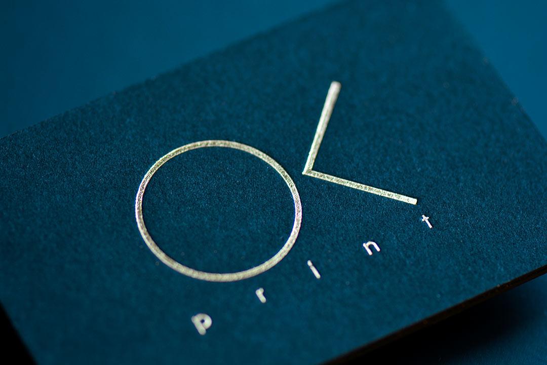 Golden Foil Business Cards on black paper