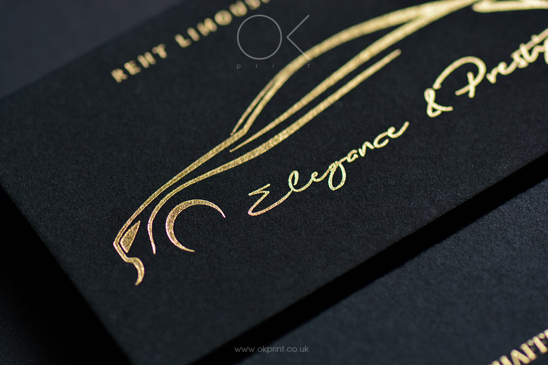 Business Cards Golden Foil on Premium Quality Black Paper