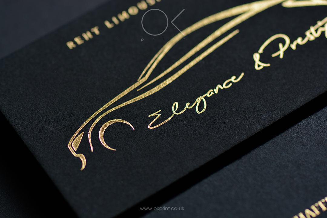 Business Cards Golden Foil on Premium Quality Black Paper