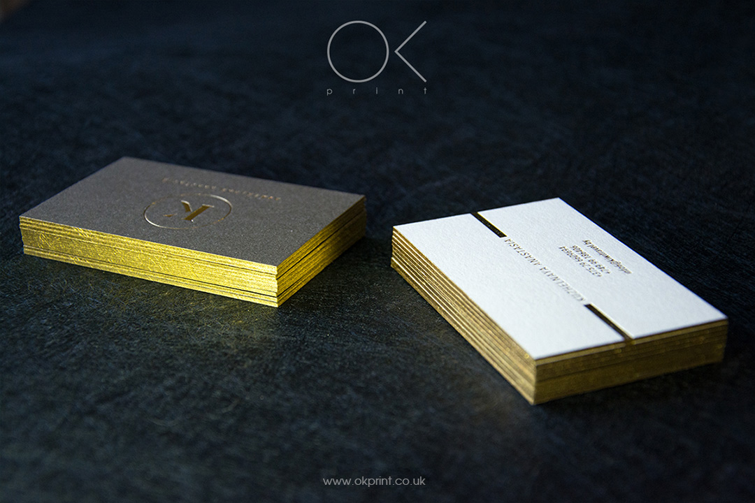 Edge Painted Business Cards, Golden Edge