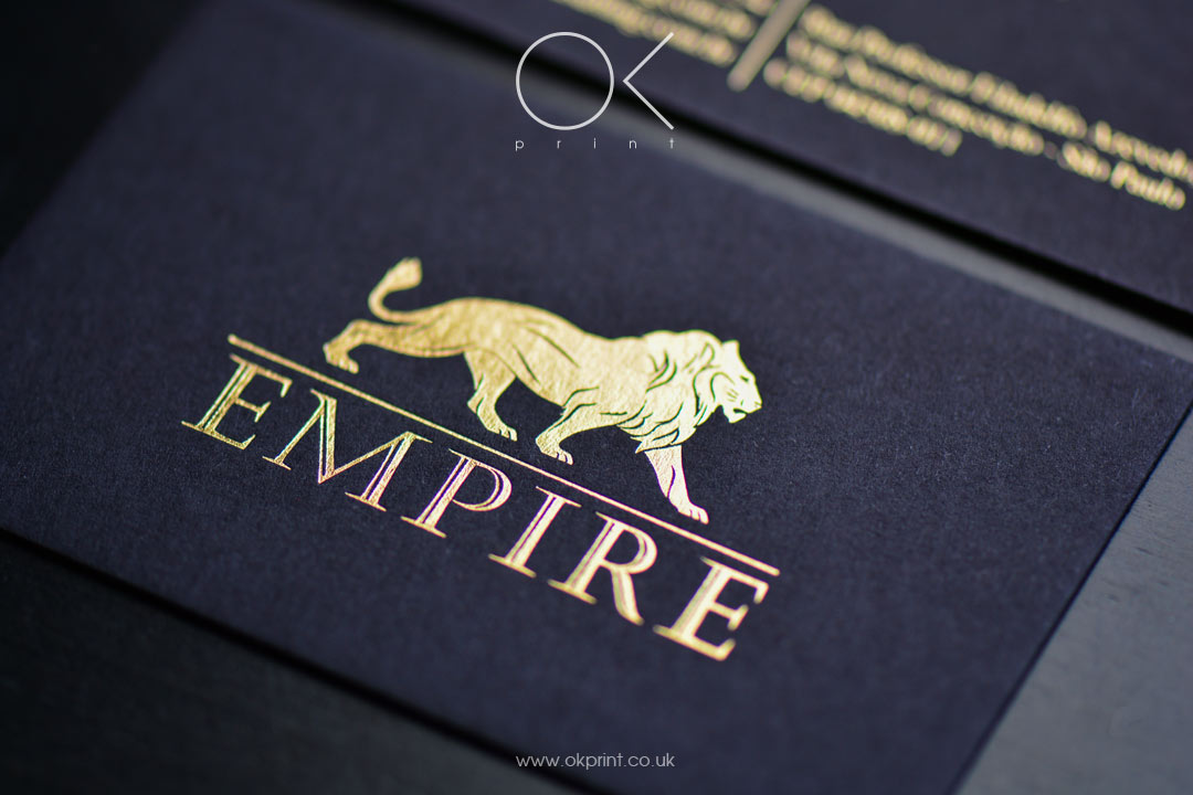Ok print uk luxury printing products in london foiled business cards on black paper reheart Image collections