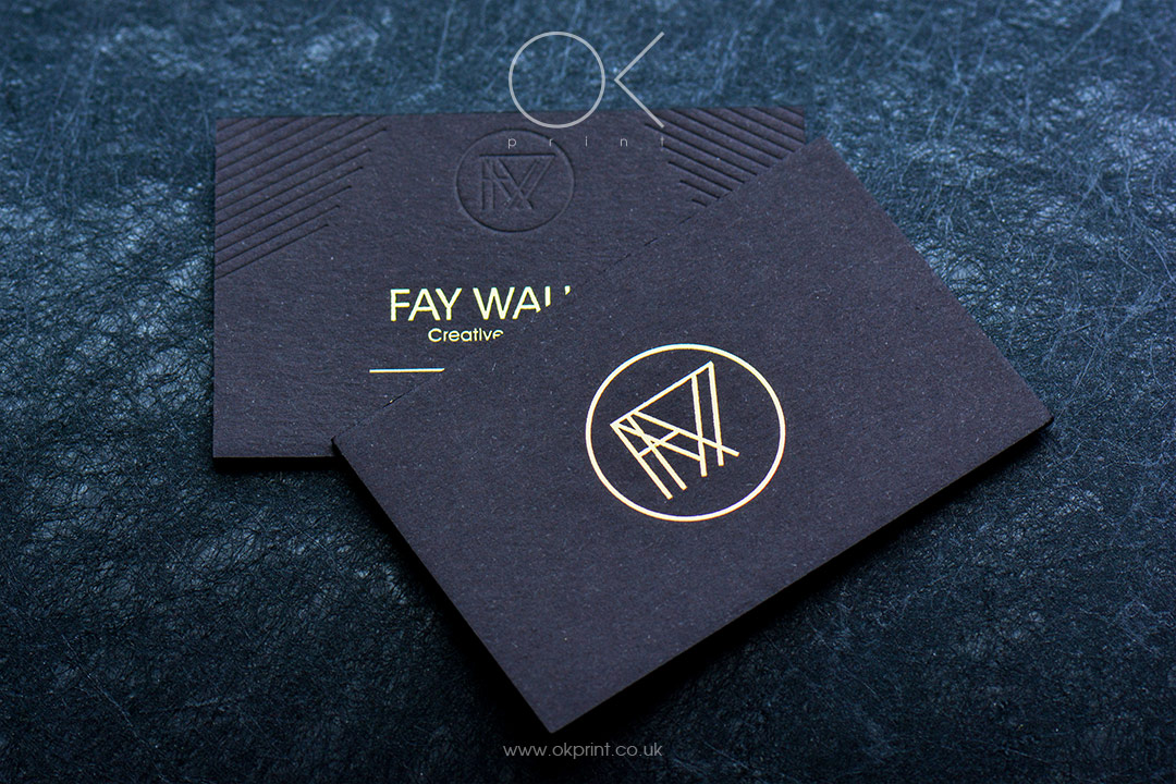 Ok print uk luxury printing products in london foiled business cards for fay walker creative retoucher reheart Image collections