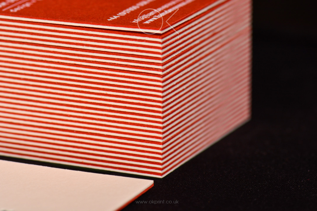 Duplexed red and white business cards