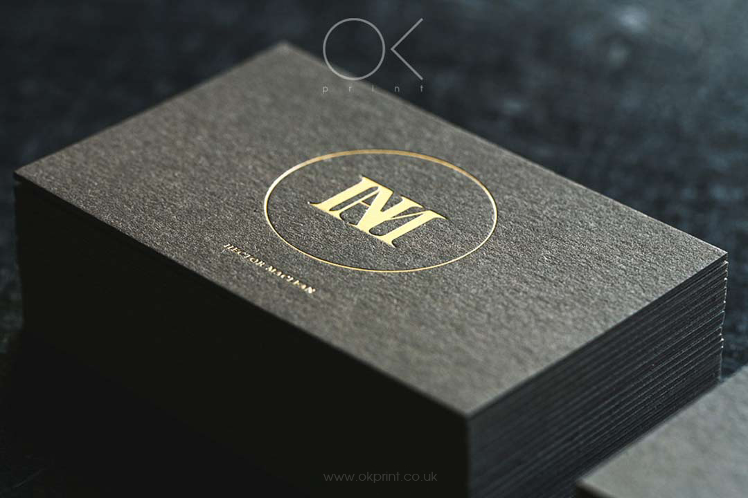 Gold Foil Stamped logo Business Cards