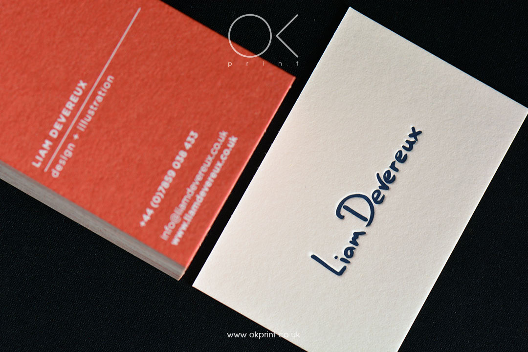 DUPLEXED PREMIUM BUSINESS CARDS FOR GRAPHIC DESIGNER – LIAM DEVEREUX