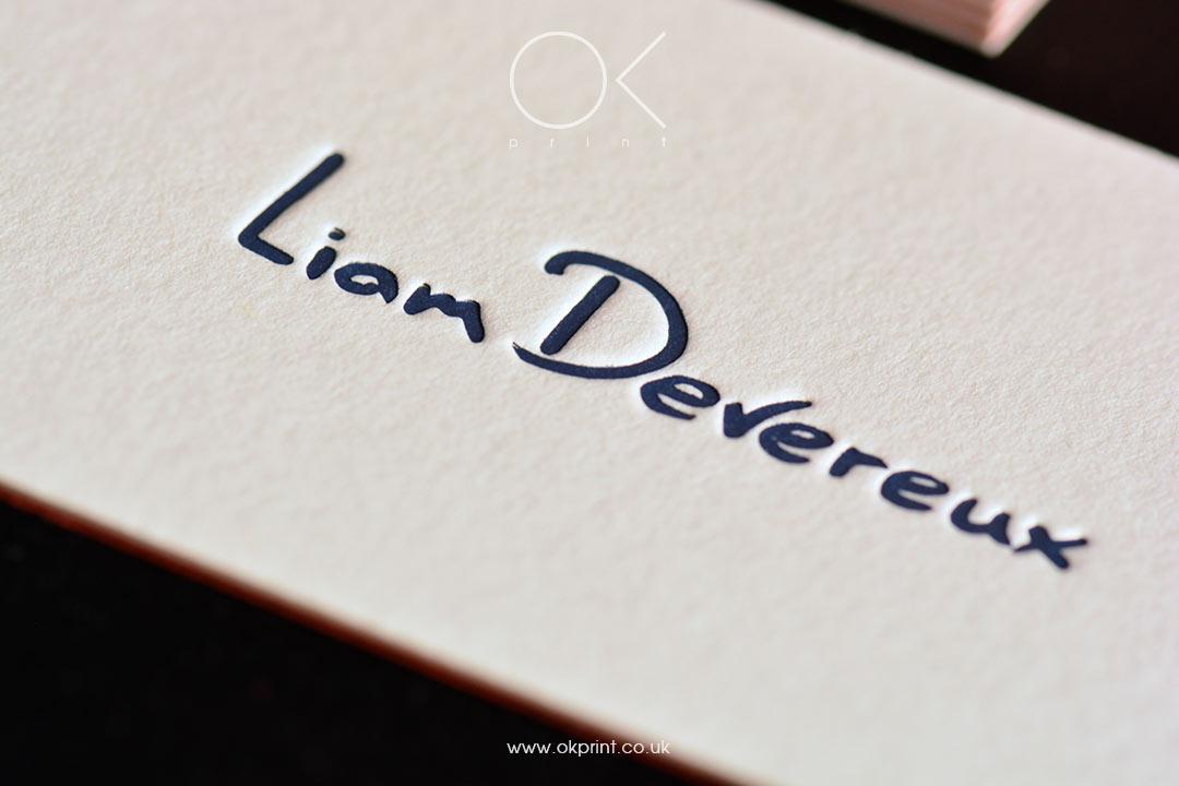 Duplexed Letterpress Business Cards for Graphic Designer