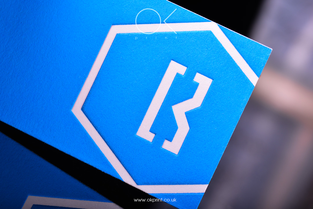Letterpress Business Cards on Blue Paper
