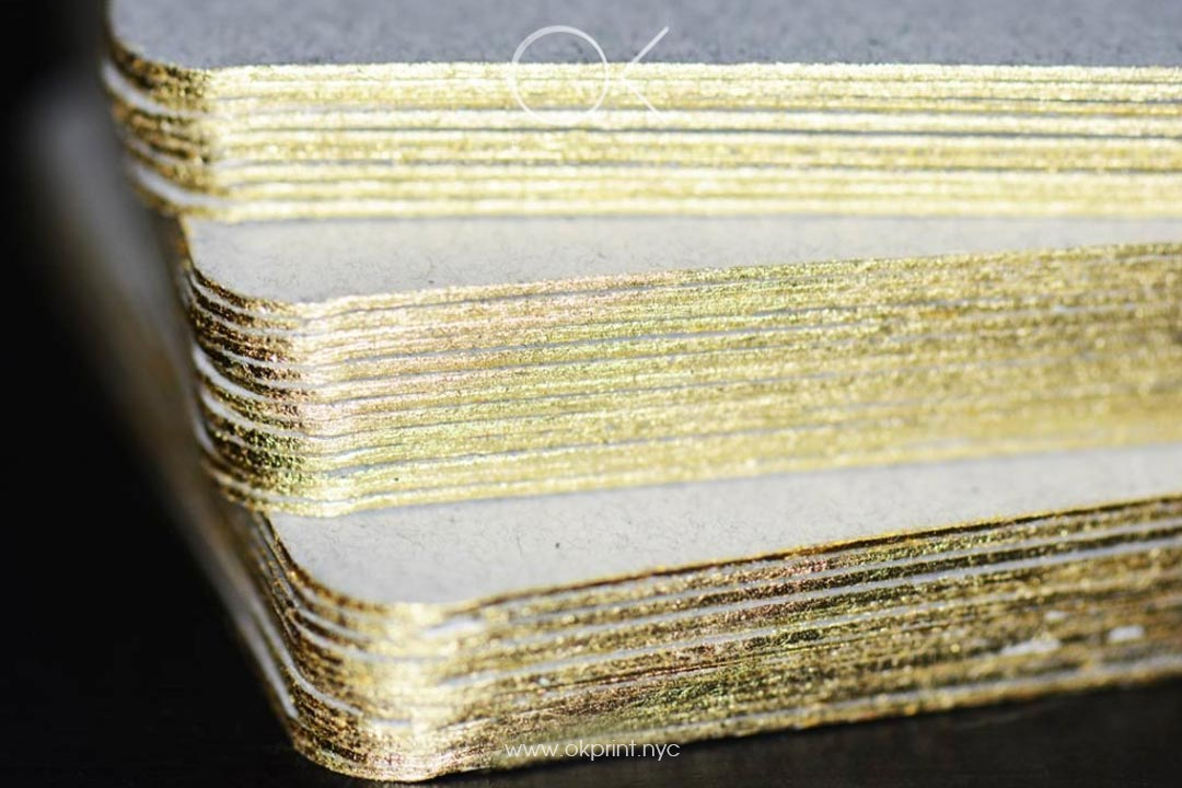 Luxury Business Cards With Foiling and Paint Edges in Gold