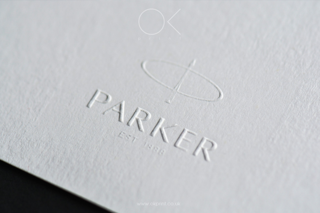 Ok print uk luxury printing products in london embossed logo on white business card reheart Choice Image