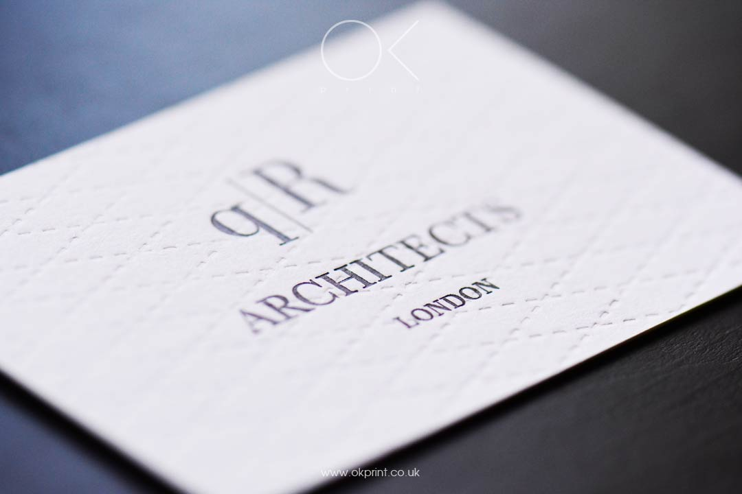 Luxury Business Cards with Debossing and Silver Foil
