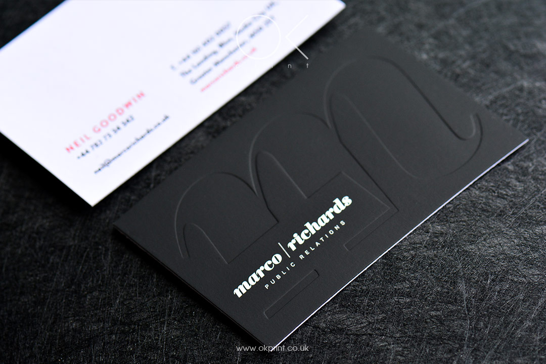 Luxury business cards with raised ink, screen preenting and debossing
