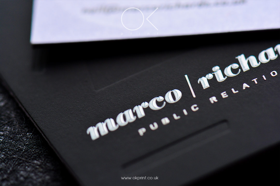 Luxury business cards with raised ink and debossing