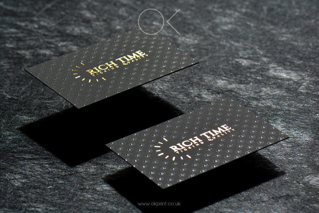 "LUXURY FOILED BUSINESS CARDS WITH RAISED INK FOR ""RICH TIME"""