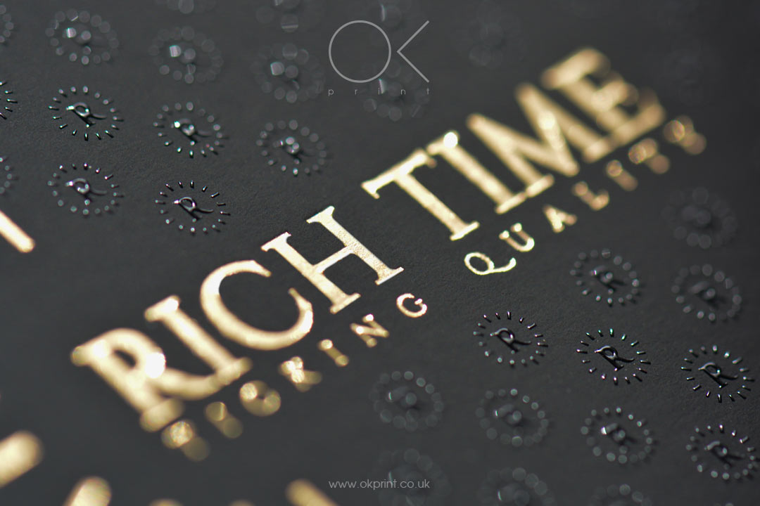 Gold Foil logo and к raised ink on Business Cards Black Paper