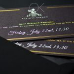Black and gold invitation with gold foil stamping