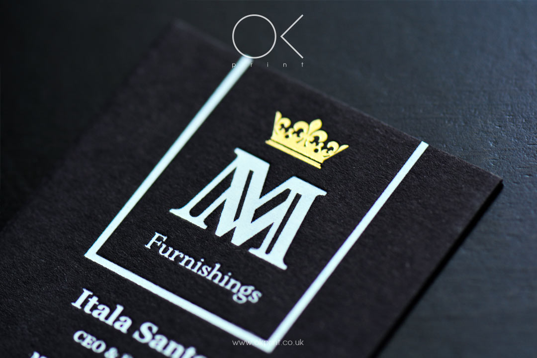 LUXURY BUSINESS CARDS WITH GOLD FOIL AND WHITE FOIL STAMPING