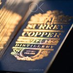 Imperial blue business cards with copper foil