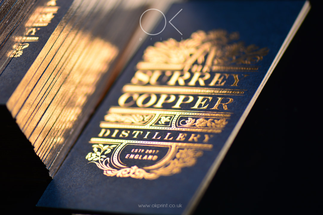 LUXURY IMPERIAL BLUE BUSINESS CARDS WITH COPPER FOIL