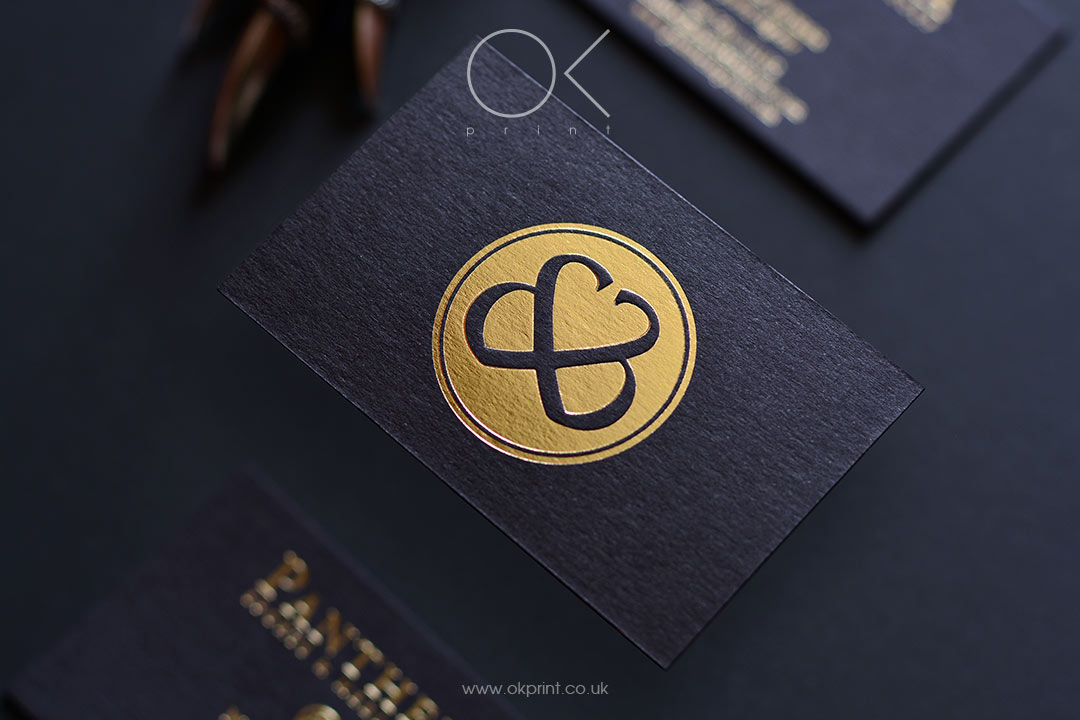 GOLD FOIL PREMIUM BUSINESS CARDS WITH EMBOSSING FOR MANAGEMENT COMPANY