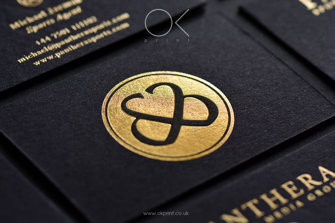 Gold foil business cards with embossing black paper