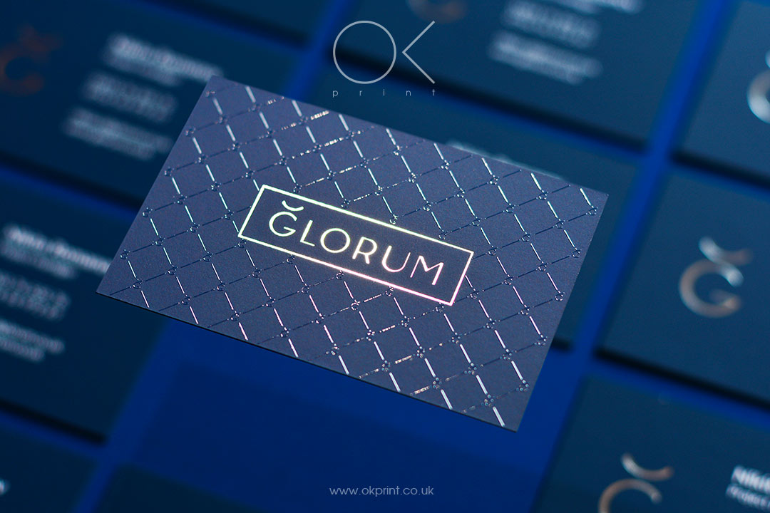 Premium Blue Business Cards with raised ink and silver foil