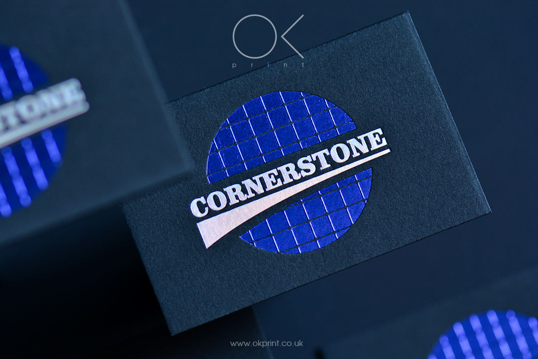 PREMIUM BLACK PAPER BUSINESS CARDS BLUE & HOLOGRAPHIC FOIL