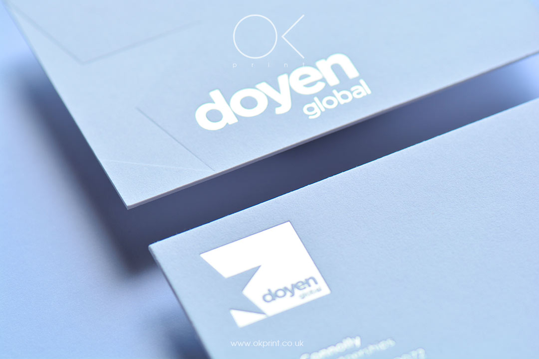 DEBOSSED MATT SILVER FOIL BUSINESS CARDS