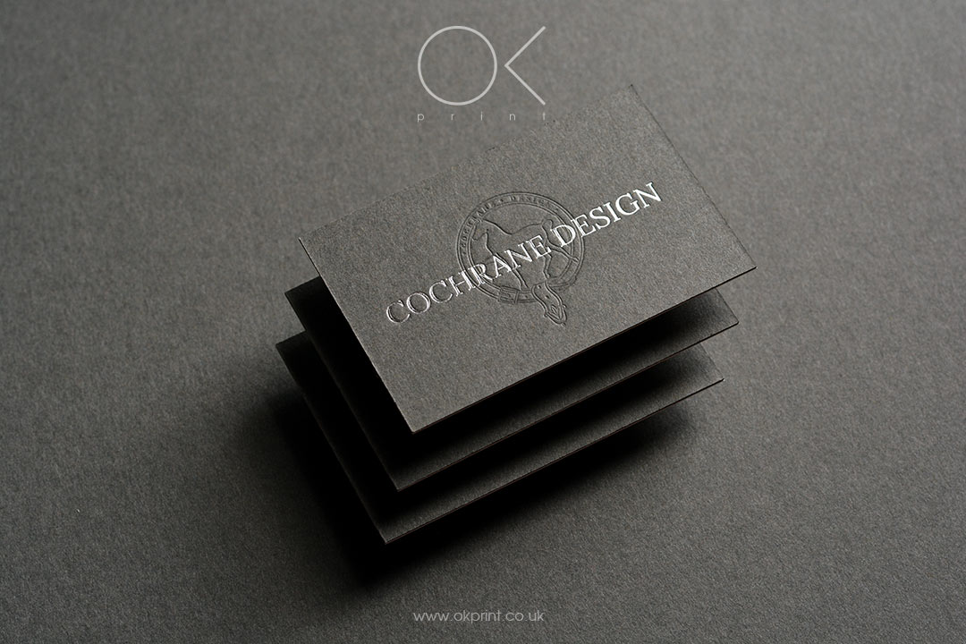 Silver foil gray duplexed business cards