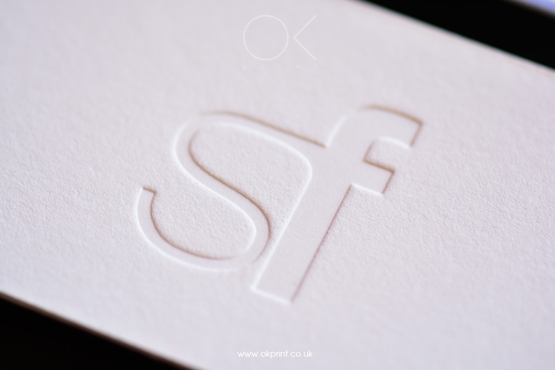 WHITE THICK BUSINESS CARDS WITH DEBOSSING
