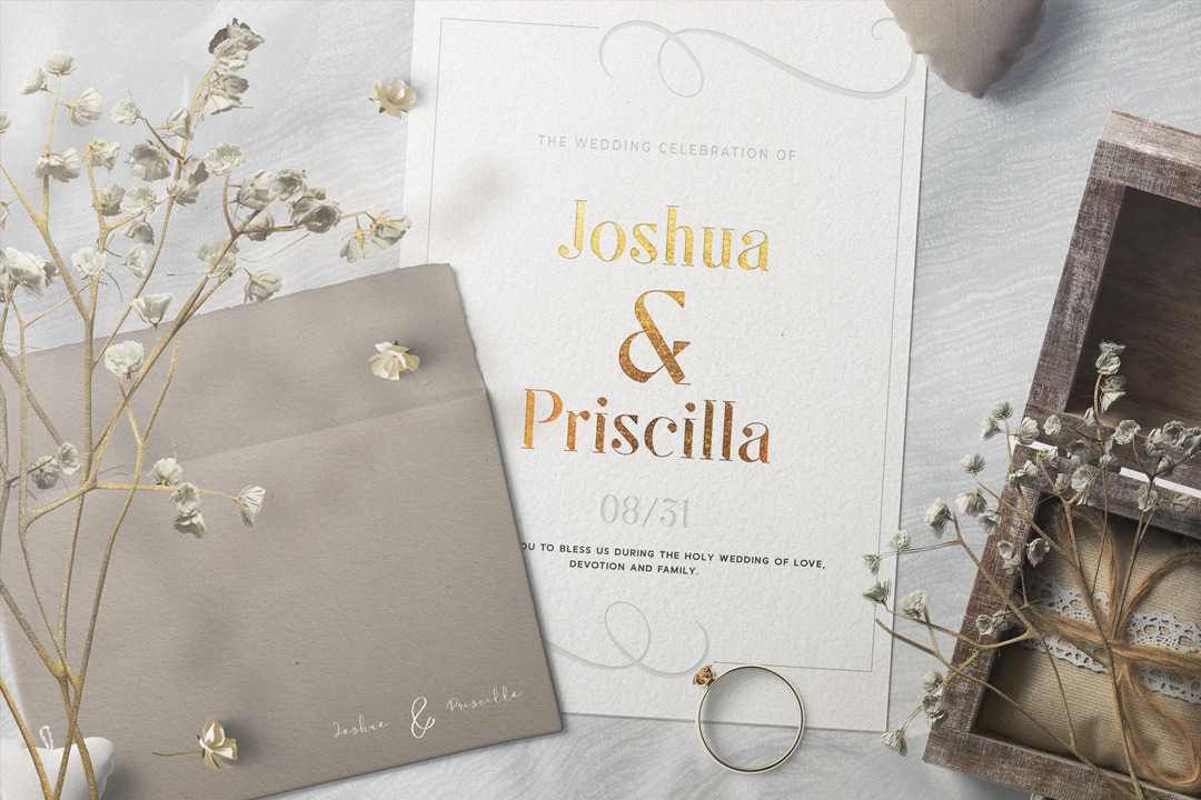 Luxury wedding invitations with golden foil