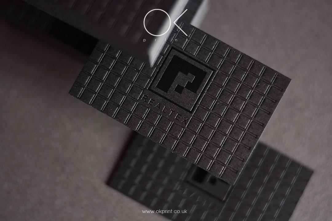 BLACK FOIL DEBOSSED BUSINESS CARDS