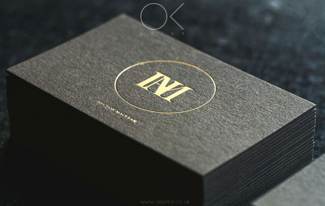 Luxury business card with foiling hector maclean ok print uk golden foil on premium quality business cards reheart Image collections