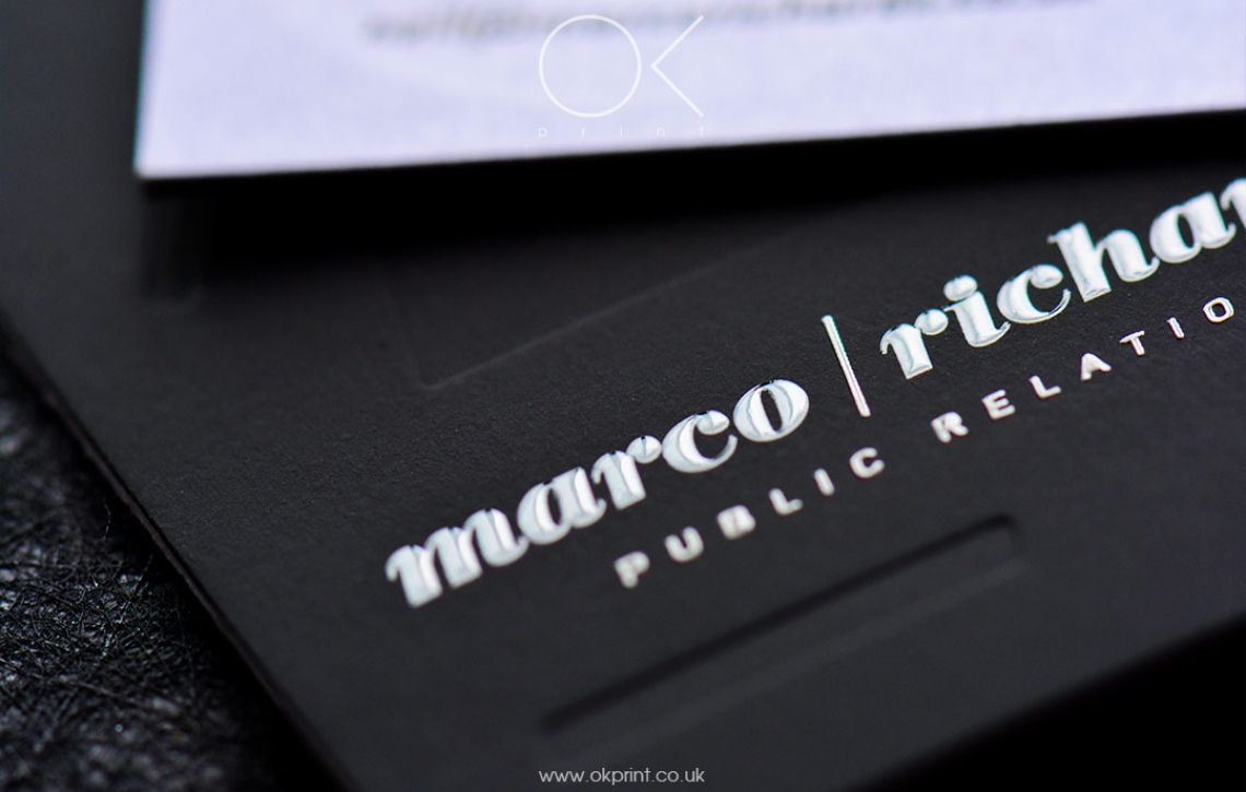 Luxury debossed business cards for public relations agency ok luxury business cards with raised ink and debossing colourmoves